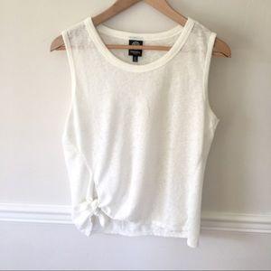 Bobeau white tied sleeveless top